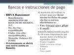 bancos e instrucciones de pago