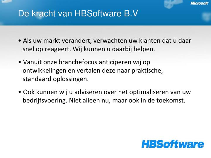 De kracht van hbsoftware b v