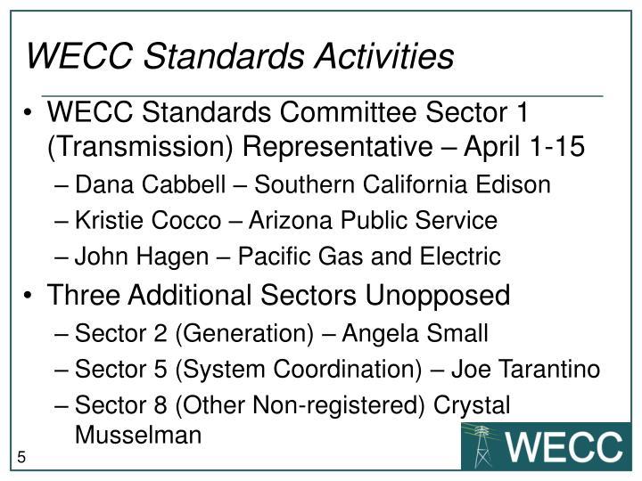 WECC Standards Activities