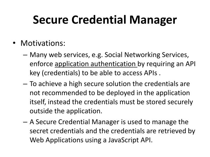 Secure credential manager