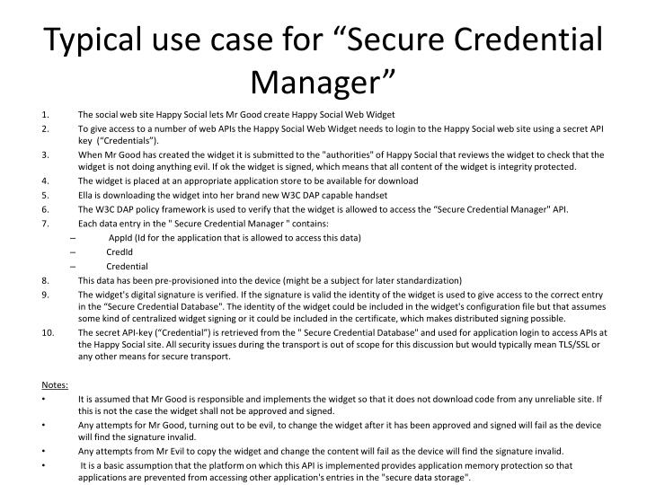 """Typical use case for """"Secure Credential Manager"""""""