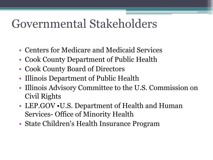 Governmental Stakeholders