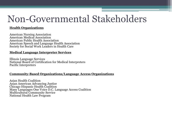 Non-Governmental Stakeholders