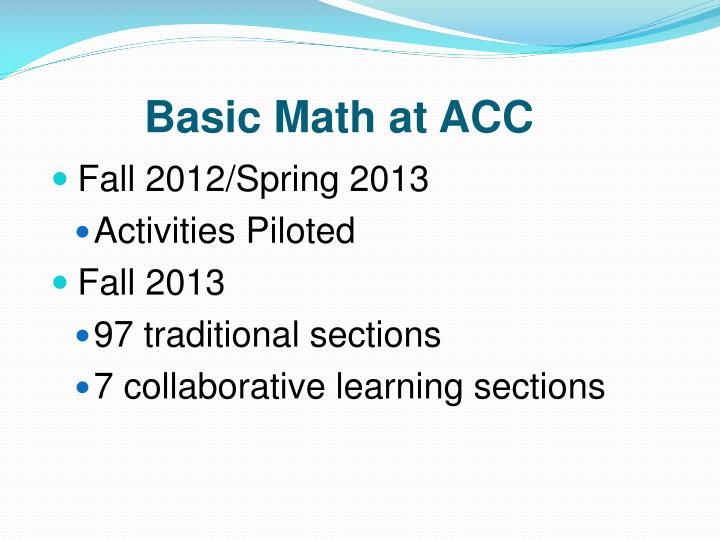 Basic math at acc