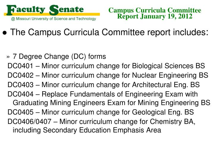 campus curricula committee report january 19 2012