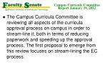 campus curricula committee report january 19 20122