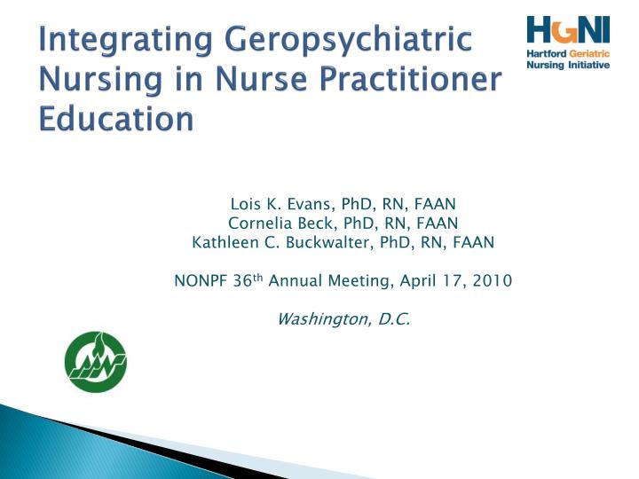 integrating geropsychiatric nursing in nurse practitioner education n.