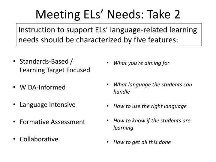 Meeting ELs' Needs: Take 2