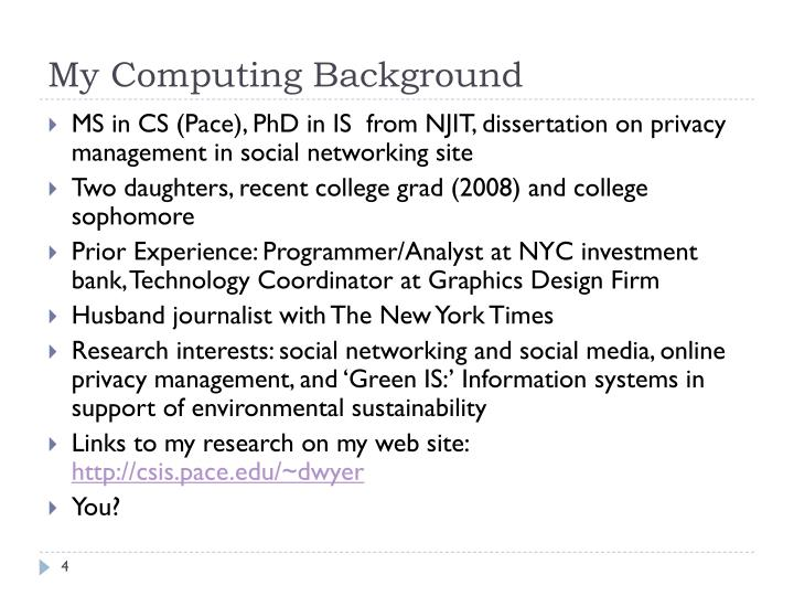 My Computing Background