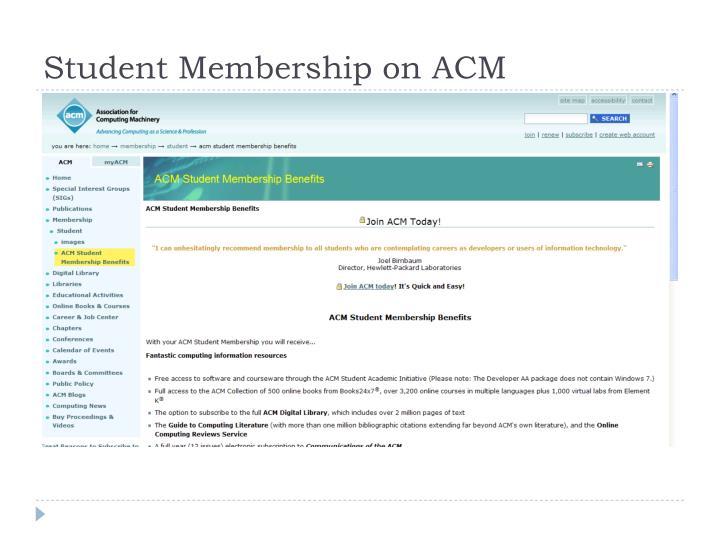 Student Membership on ACM