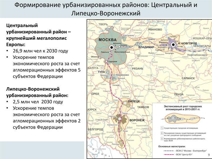 Формирование урбанизированных районов: Центральный и