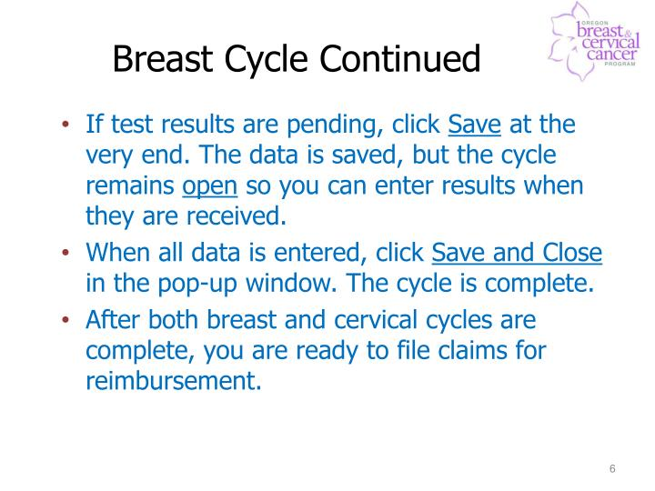 Breast Cycle Continued