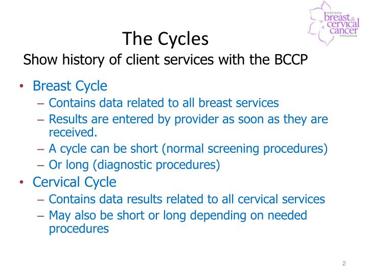 The cycles show history of client services with the bccp
