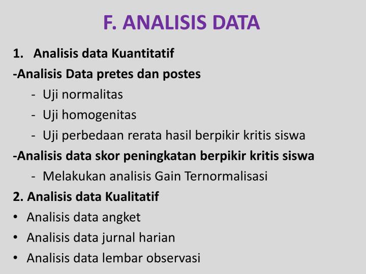 F. ANALISIS DATA