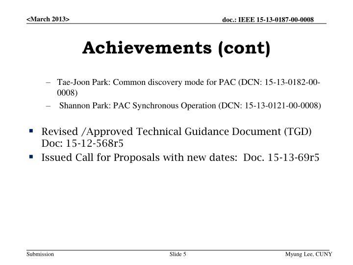 Achievements (cont)