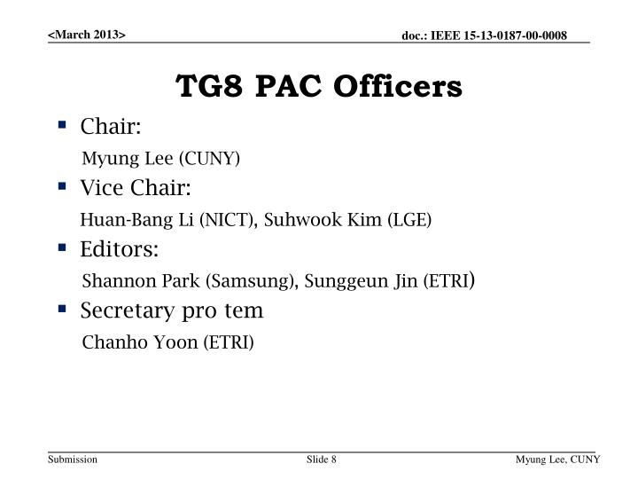 TG8 PAC Officers