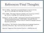 references final thoughts