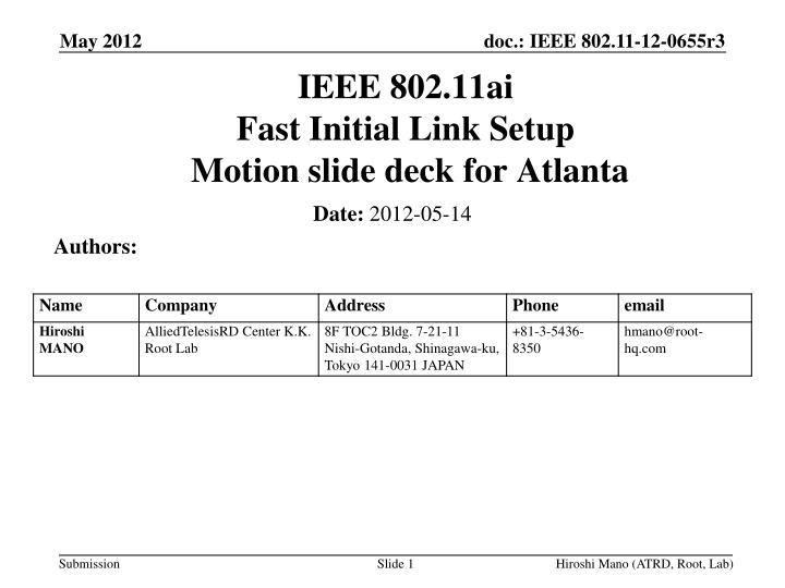 Ieee 802 11ai fast initial link setup motion slide deck for atlanta