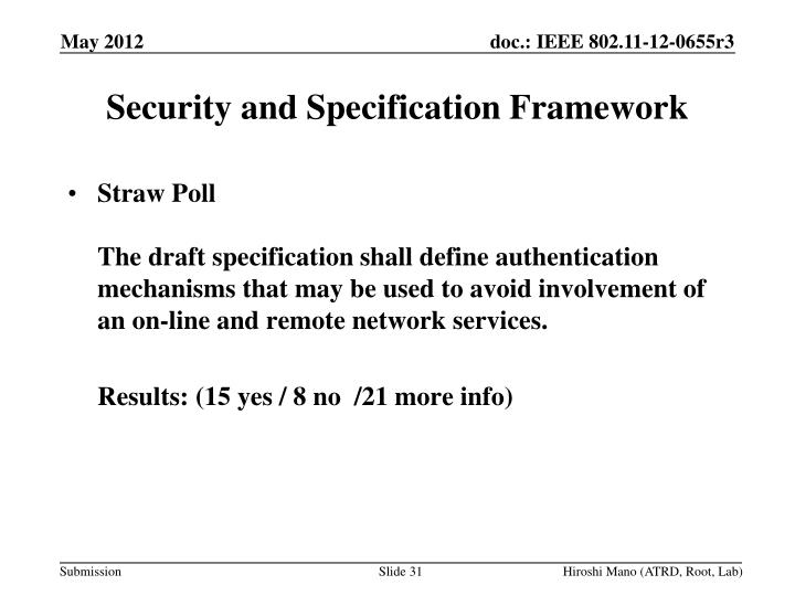 Security and Specification Framework