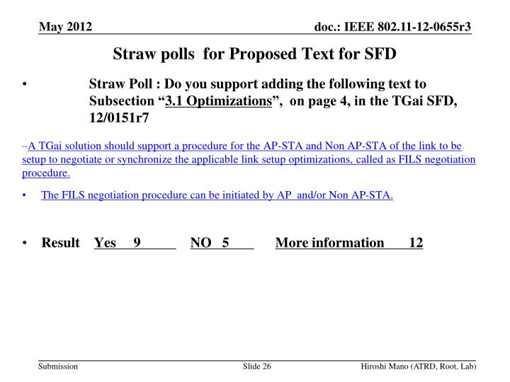 Straw polls  for Proposed Text for SFD