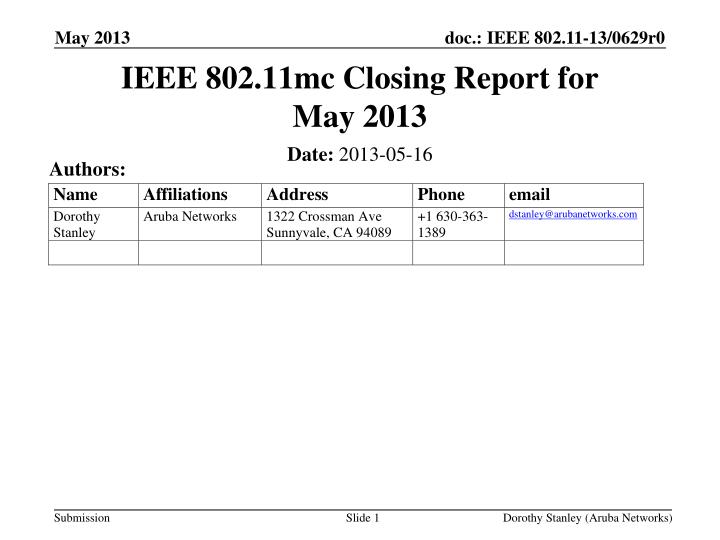 ieee 802 11mc closing report for may 2013 n.