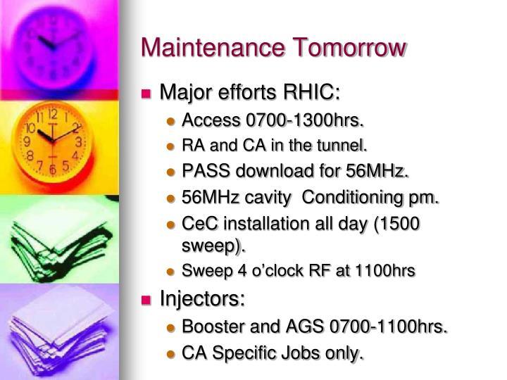 Maintenance tomorrow