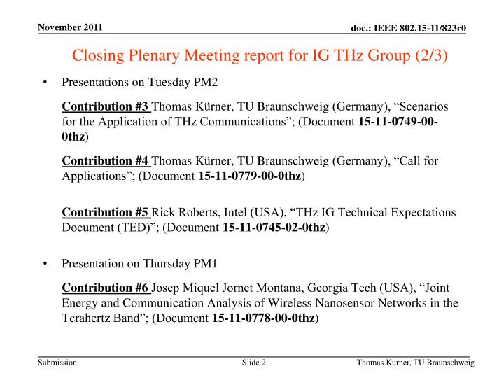 Closing Plenary Meeting report for IG THz Group