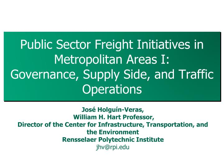 Public Sector Freight