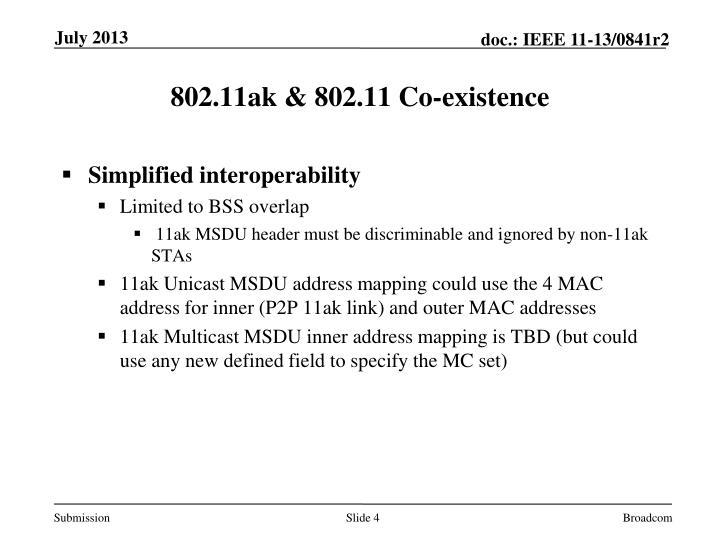 802.11ak & 802.11 Co-existence