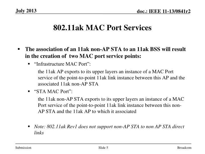 802.11ak MAC Port Services