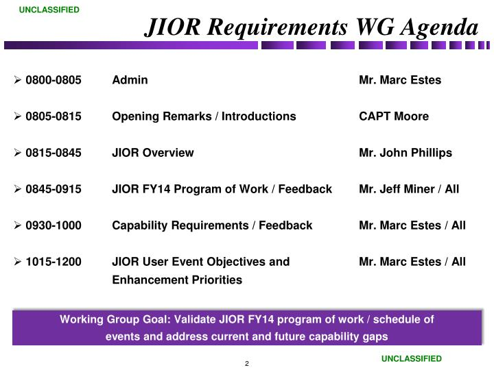 Jior requirements wg agenda