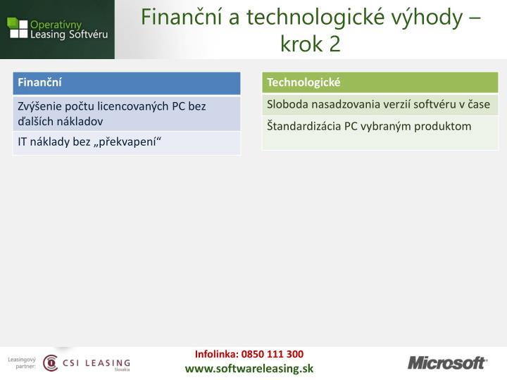 Finanční a technologické výhody – krok 2