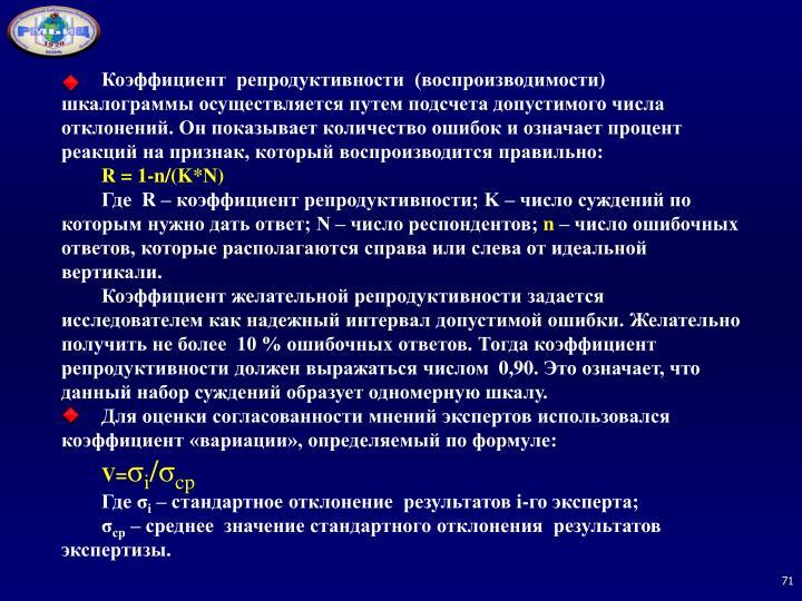 Коэффициент  репродуктивности  (