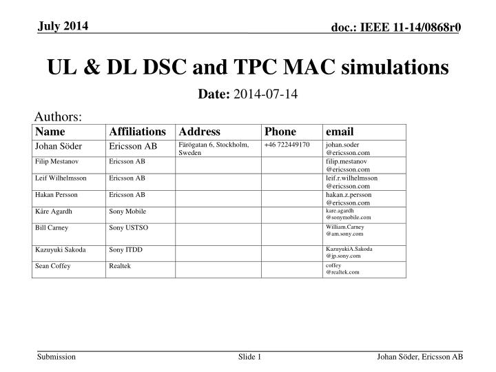 ul dl dsc and tpc mac simulations