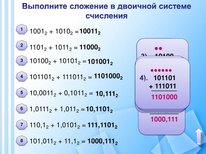 Сложение в 8-разрядной арифметике со знаком переполнение