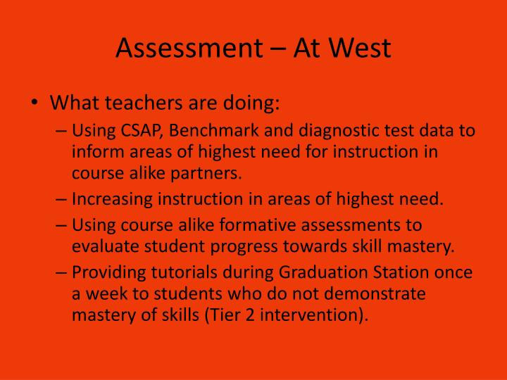 Assessment – At West
