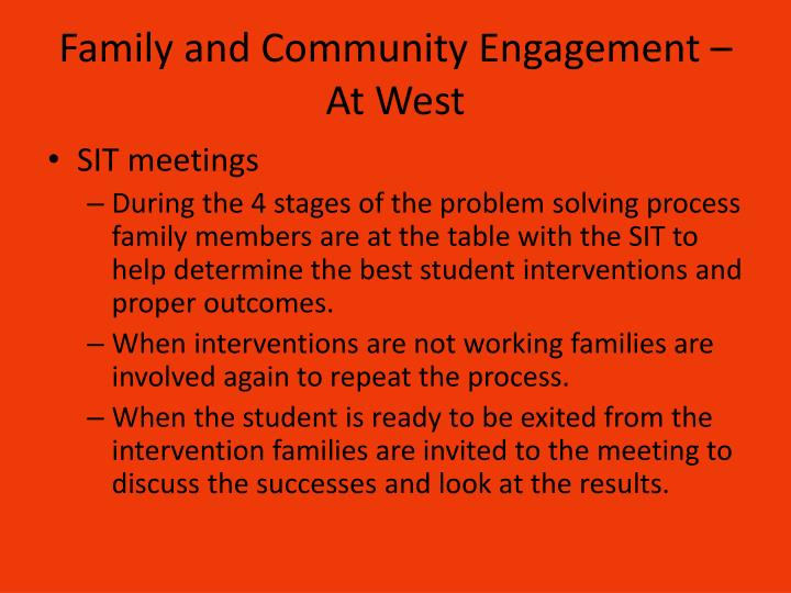 Family and Community Engagement – At West