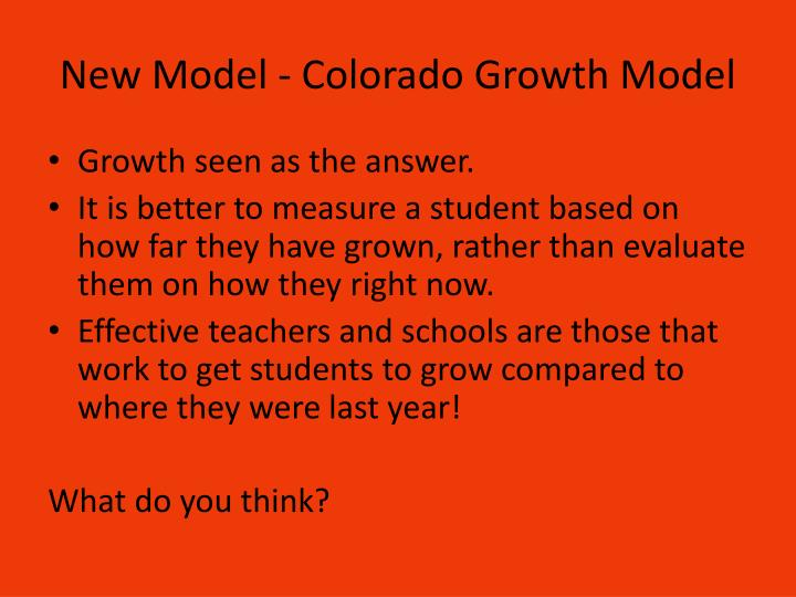 New Model - Colorado Growth Model