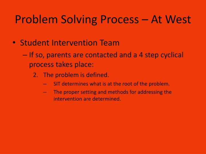 Problem Solving Process – At West