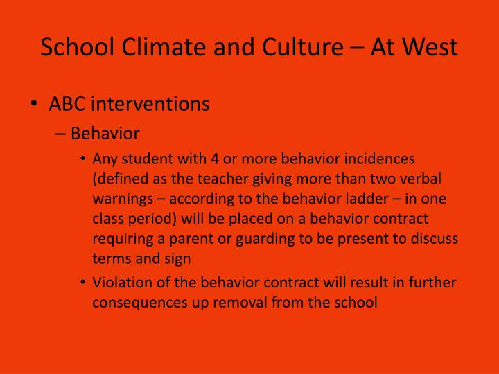 School Climate and Culture – At West