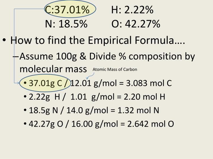 C:37.01%        H: 2.22%