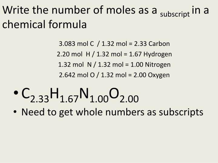 Write the number of moles as a