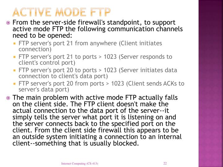 Active mode FTP
