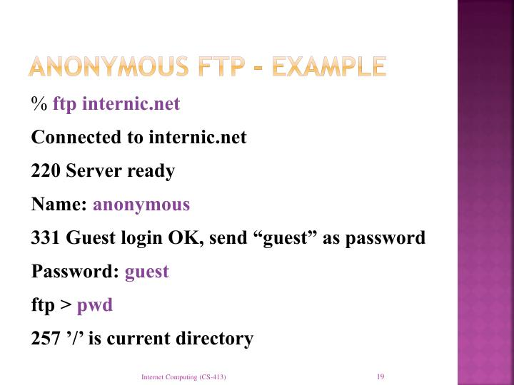 Anonymous FTP - example