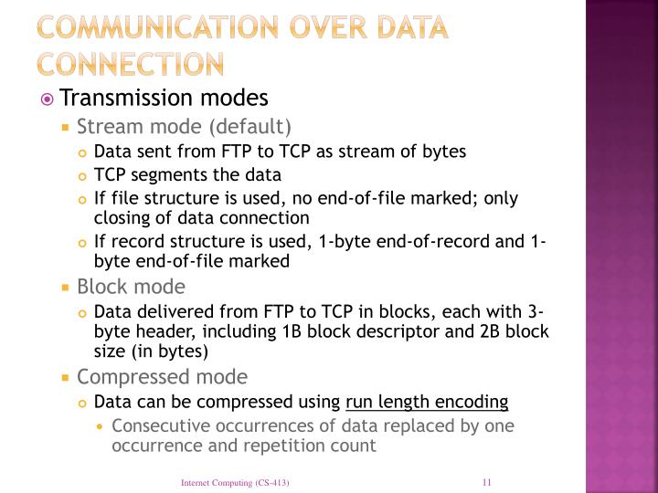 Communication over data connection