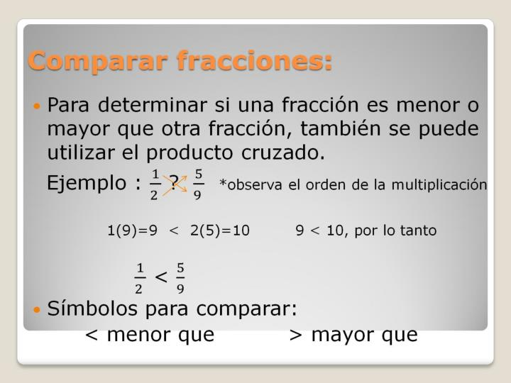 Comparar fracciones: