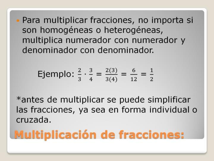 Multiplicación de fracciones: