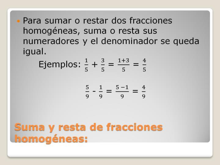 Suma y resta de fracciones homogéneas: