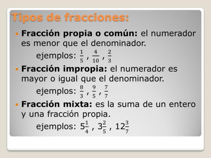 Tipos de fracciones: