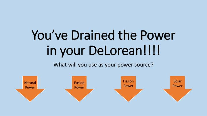 you ve drained the power in your delorean n.